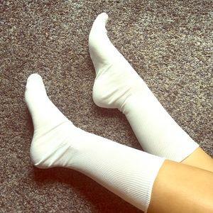Silky White Short Stockings